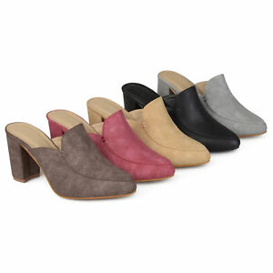 f99601e64b7 Brinley Co Womens Thirza Block Heel Distressed Loafer Mules Slip On ...