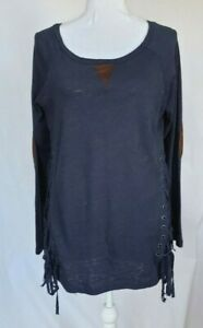 Anthropologie Navy Blue Elbow Patch Top Small