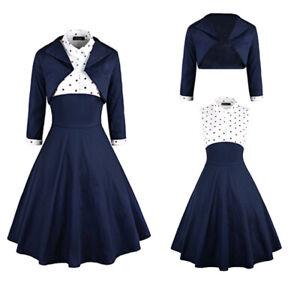 Women-Vitage-Short-Coat-Casual-Party-Casual-Cockail-Evening-Swing-Dress-2Pcs-Set