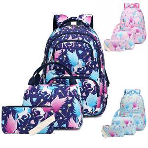 Women Girl Pony Unicorn School Backpack Set Laptop Bags Travel Rucksack Satchel