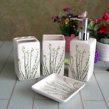 Set of 4 IVORY Ceramic FLORAL Bathroom Set Bottle, Toothbrush Holder, Cup, Soap