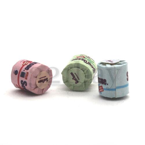 3 Tiny Dollhouse Toilet Paper Rolls Dollhouse Bathroom Accessories Miniature