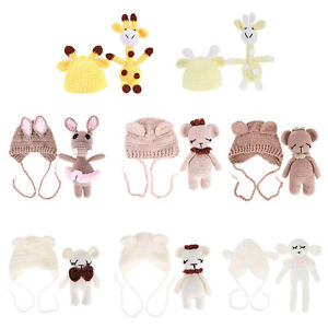 2pcs Newborn Infant Baby Kids Girls Boys Photography Props Doll +Hat Costume Set