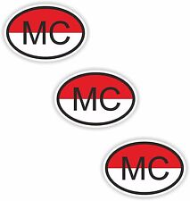 3x Oval Flag Stickers Monaco Small Country Code Laptop Smartphone Case