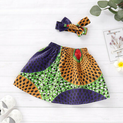 Infant Kids Baby Girls Summer African Skirt Headband Dashiki Print Clothing Set