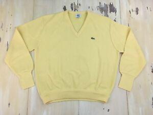 0022ba2886 LACOSTE IZOD - Vtg 80s Yellow Acrylic V-Neck Sweater, Made In USA ...