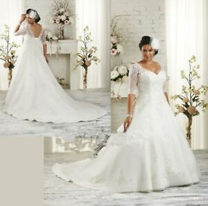 2c2ad93216fba Plus Size Half Sleeve Wedding Dress Bridal Gown Stock size14.16.18 ...