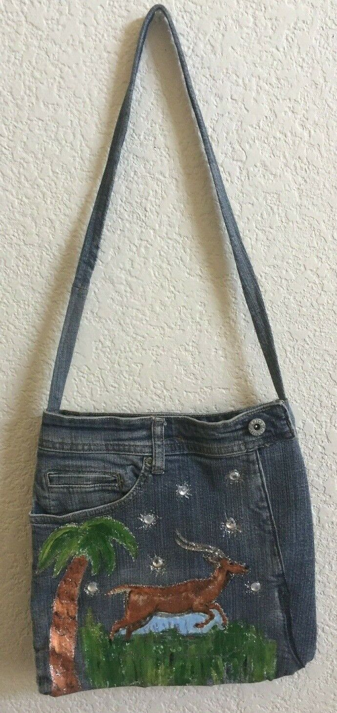 Hand Painted Gazelle Antelope on Faded Light Blue Denim Small Purse Tote Bag