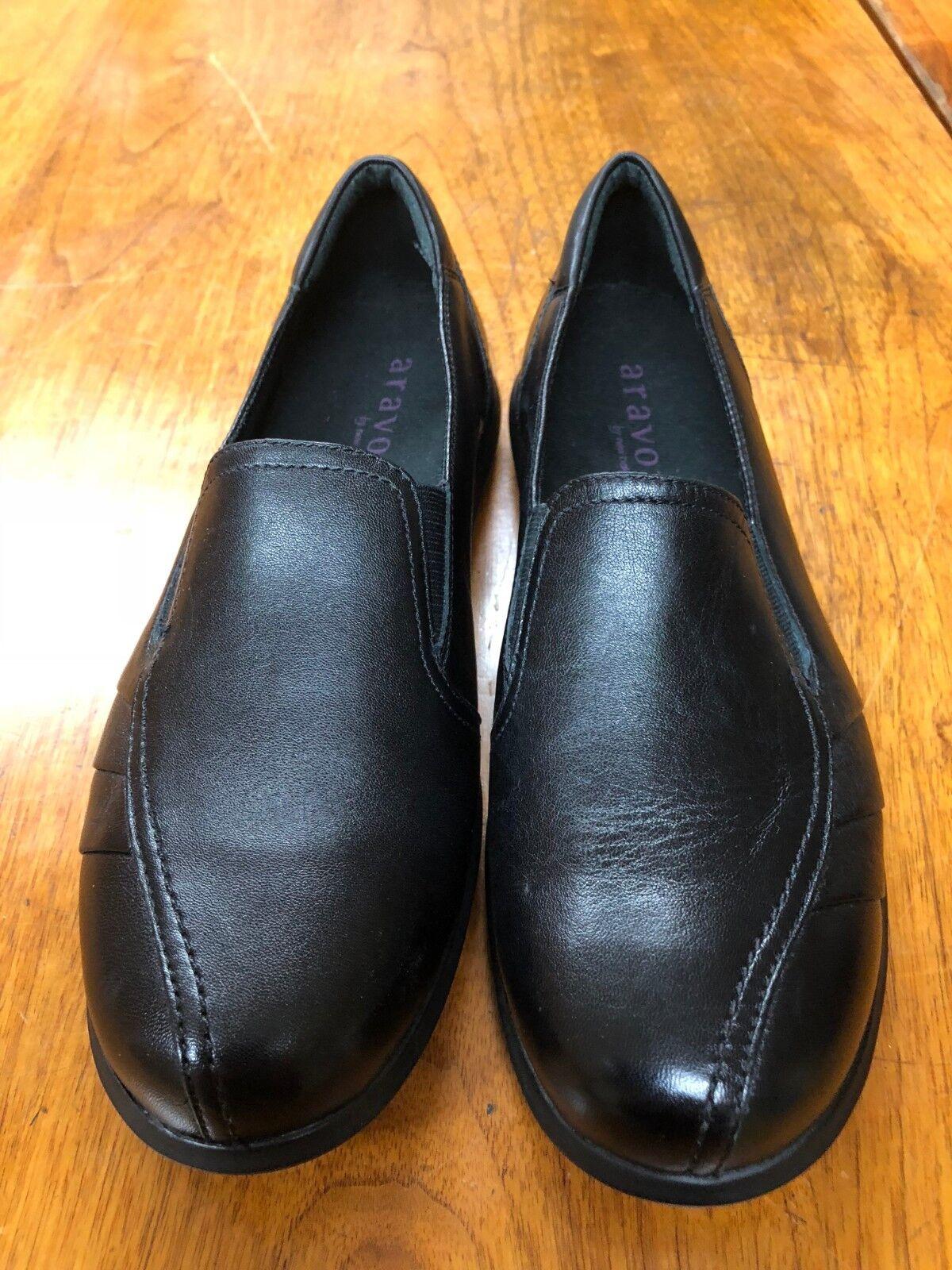 Aravon-New-Balance-WEF13BK-Negro-Cuero-Slip - on-Zapatos-Mujer-flats nosotros tamaño 9 B