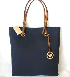 NEW-MICHAEL-KORS-JET-SET-ITEM-NAVY-BLUE-CANVAS-BROWN-GOLD-NS-TOTE-PURSE-HAND-BAG