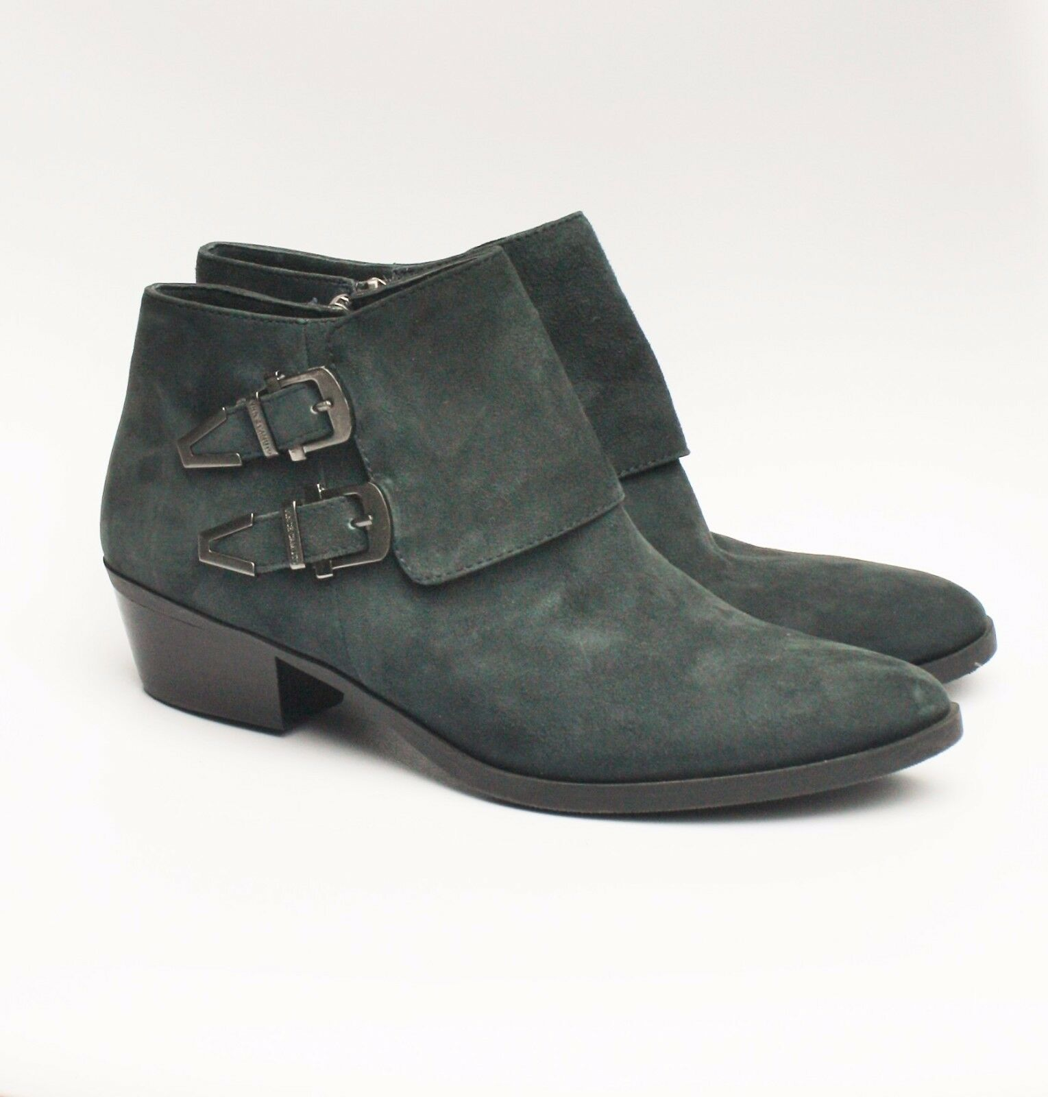 VINCE CAMUTO TRAPEEZ BOOTIES 8 Gray Suede Buckle Biker Moto Ankle Boots Shoes