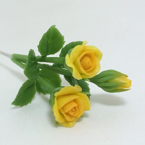 Yellow Roses Clay Flower Miniature Handmade Plant Doll House Garden Accessory