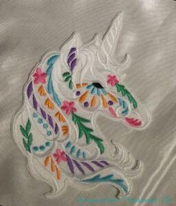 Embroidered-Large-7-034-Boho-Carousel-White-Unicorn-Head-Fantasy-Patch-Iron-On-USA