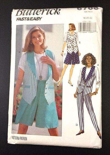 3543 Vintage Butterick SEWING Pattern Misses EZ Vest Shorts FF EASY