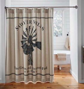SAWYER-MILL-WINDMILL-Shower-Curtain-Farmhouse-Country-Grain-Feed-sack-VHC-Brands