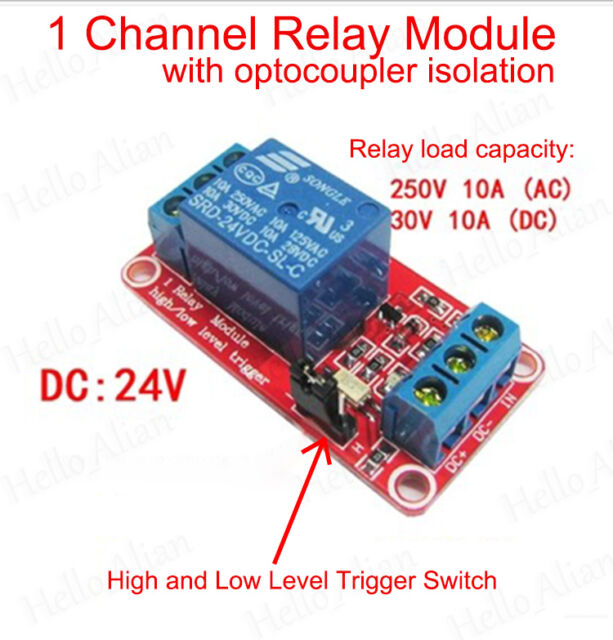 DC5V~24V 1-Channel Relay Module with Optocoupler H/L Level Trigger for Arduino