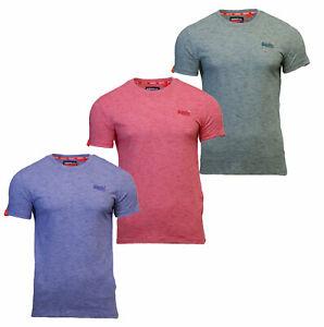Nuevo-Para-Hombre-Orange-Label-de-Superdry-de-manga-corta-cuello-redondo-de-la-camiseta-azul-rojo