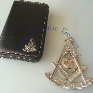 Masonic past master cut out car autosilver emblem id for Masonic business card holder