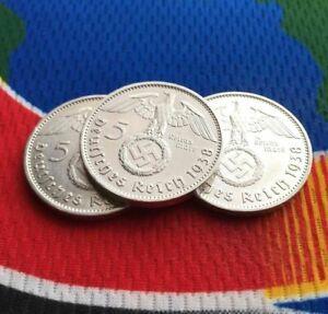 1938-E-5-Mark-German-WW2-Silver-Coin-1-Third-Reich-Swastika-Reichsmark