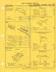 1968 Belvedere Satellite Road Runner Gtx Wagon Mitchell Parts Manual Hemi Mopar Ebay