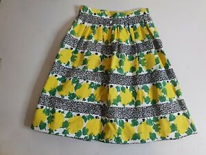 DANGERFIELD-Revival-A-Line-Pleated-Skirt-Size-6-Lemons-amp-Leaves-Vintage-Retro