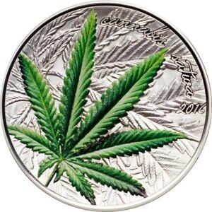 Cannabis-sativa-Hochrelief-konkav-1000-FR-Benin-2016-1-Oz-Silver-Proof-Coin