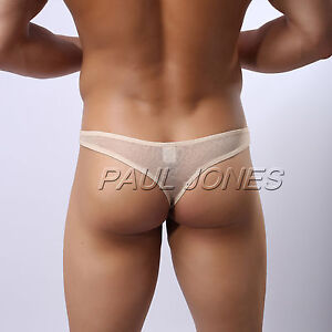 Cheap Sexy Men Cheeky Sheer Underwear Thong briefs Pouch Bulge ...