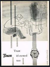 1950's Old Original Vintage 1955 Timor Wrist Watch Machine Testing Art Print AD