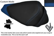 BLACK & BLUE CUSTOM FITS APRILIA RS4 125 11-12 REAR PILLION LEATHER SEAT COVER