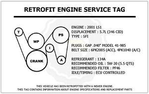2001 LS1 5.7L Trans Am Retrofit Engine Service Tag Belt Routing Diagram  Decal | eBayeBay
