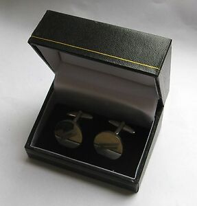 Simili-Cuir-Noir-Boutons-de-manchette-emballage-cadeau