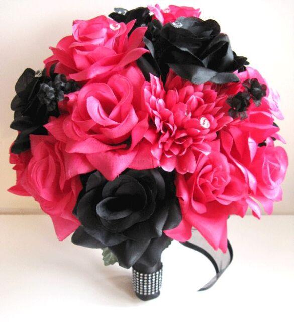 6 pcs Wedding Bouquet Bridal Silk flowers BLACK Dark PINK FUCHSIA Package set
