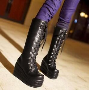 Women-039-s-Knee-High-Boots-Lace-Up-Super-High-Platform-Gothic-Punk-Shoes-Size-Plus