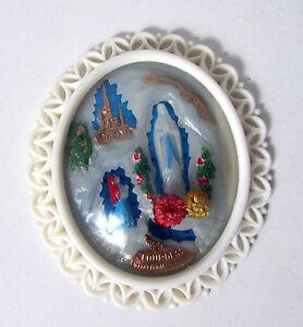 Cadre-ovale-verre-bombe-Lourdes-Vintage-12-cm
