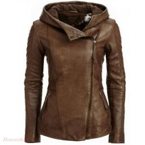 Hooded Women Retro Coat Biker Vintage Winter Pu Jakke Jackets Z02 Læder SAHFwtHq