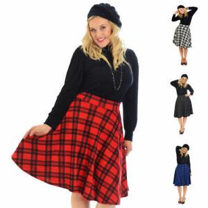 Kleidung & Accessoires Pflichtbewusst Ladies Tartan Skater Skirt Scottish Check Midi Skirt Nouvelle Womens Plus Size üBerlegene Leistung