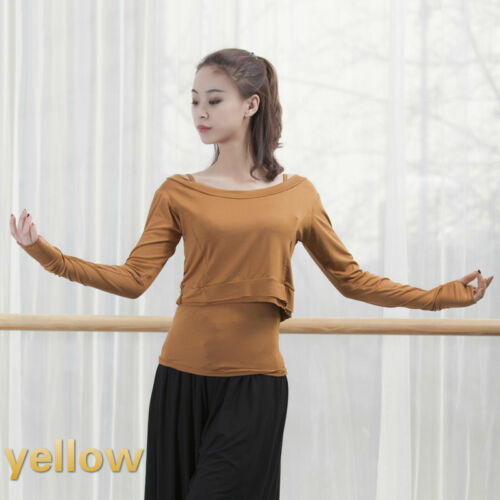 2pcs Vest Tee Womens Long Sleeve Stretch Top Ballet Dance Dancewear Tshirt Blue