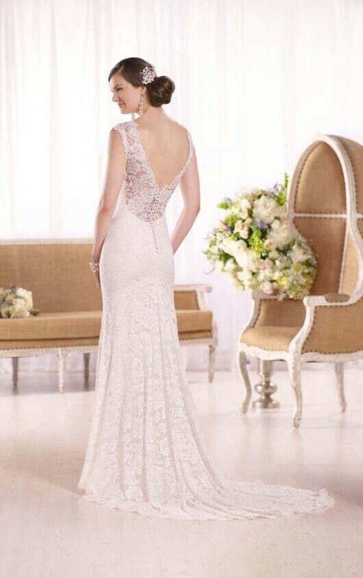 Essence of Australia D2009 Wedding Dress Lace High Neck Low Back Lace Stretch 14