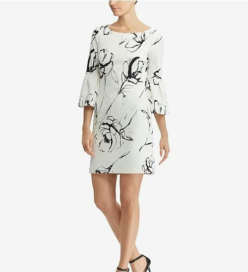 Lauren Ralph Lauren Shift Dress Größe 12P Bell Sleeve Floral Crepe schwarz Weiß
