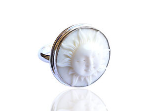 Devata Twin Lune Visage Sculpture Bali sterling silver 925 Pendentif BCT166