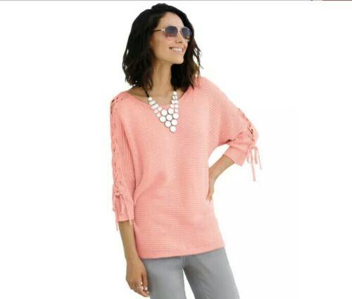 ladies new in bag ambria uk size 18 salmon pink cotton rib knit sweater