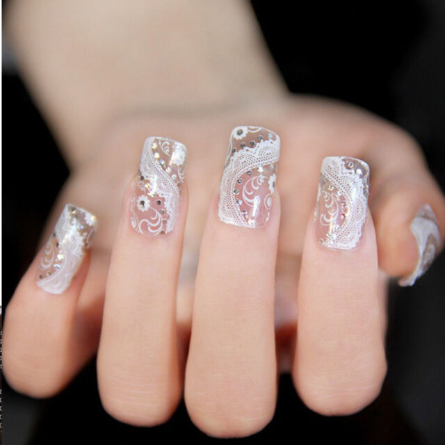3D Crystal Lace Adhesive Nail Foil Stickers Wraps Decals DIY Manicure Decoration