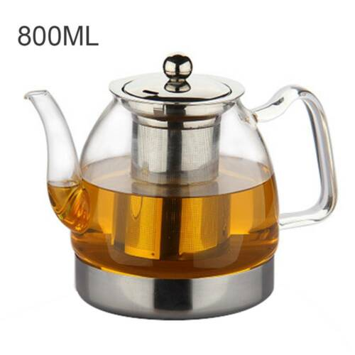 800//1200mL Heat Resistant Clear Glass Teapot Stainless Steel Infuser Tea Pot New