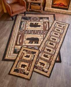 Lodge-Accent-Runner-Area-Rug-Log-Cabin-Brown-Bear-Rustic-Living-Room-Home-Decor