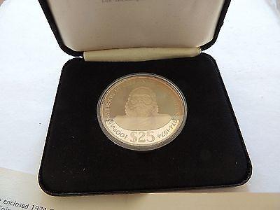 1974 Fiji Twenty ($25) Dollar Silver Commemorative Proof Coin With Coa & Case