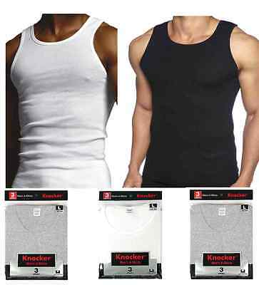 Lot 3 6 Mens Black White Gray 100% Cotton A-Shirts Wife Beater Ribbed Undershirt