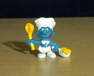 Smurfs 20073 Cook Smurf Chef Spoon Vintage Toy Figure Peyo PVC Figurine Bully