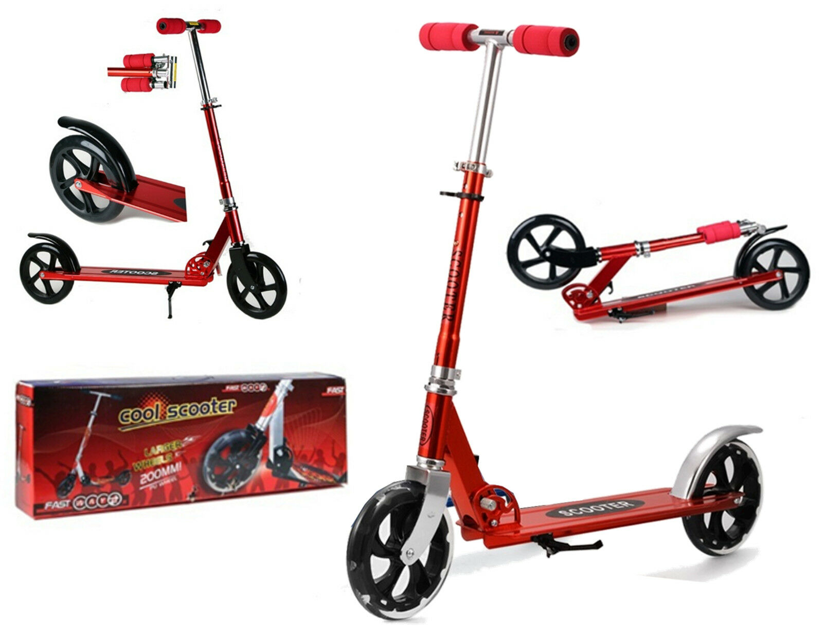 SCOOTER aluminum RED wheel 20 cm resealable height adjustable