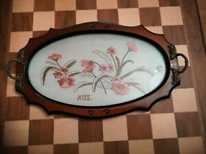 Wooden-and-glass-Oval-Serving-Tray-With-Hand-Made-Greece-Greek-Kos-Lace