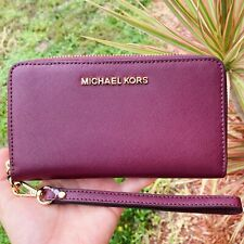Michael Kors Women Wristlet Card Holder Leather Phone Case Wallet Clutch Merlot